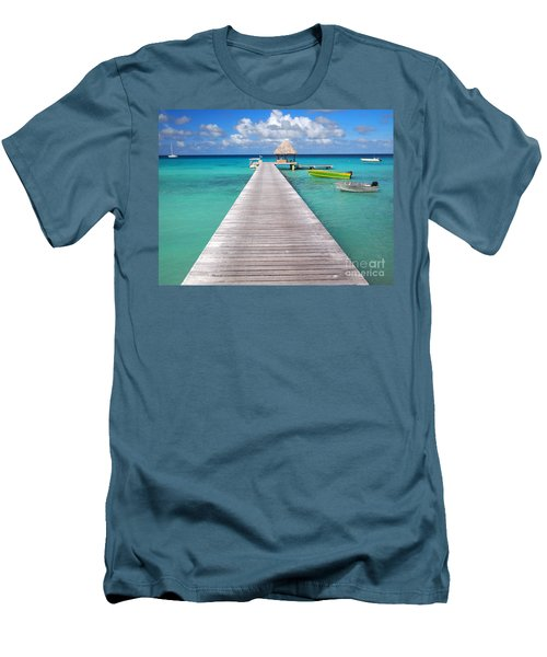 Boats At The Jetty In A Tropical Turquoise Lagoon Men's T-Shirt (Athletic Fit)