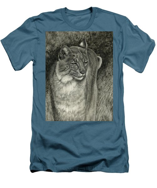 Men's T-Shirt (Slim Fit) featuring the drawing Bobcat Emerging by Sandra LaFaut