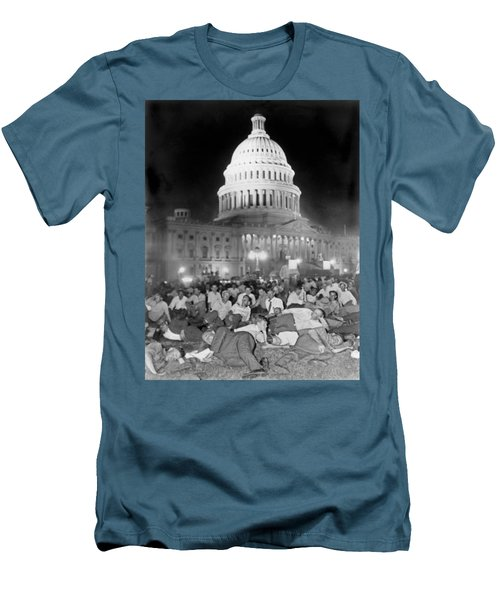Bonus Army Sleeps At Capitol Men's T-Shirt (Slim Fit) by Underwood Archives