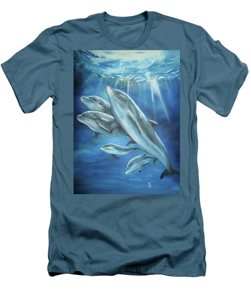 Men's T-Shirt (Athletic Fit) featuring the painting Bottlenose Dolphins by Thomas J Herring
