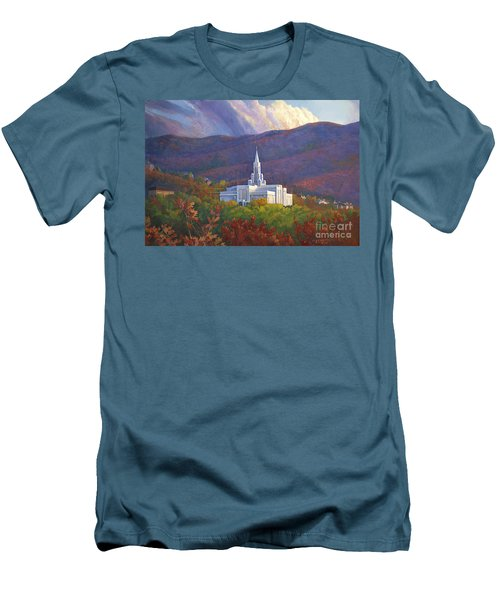 Bountiful Temple In The Mountains Men's T-Shirt (Slim Fit) by Rob Corsetti