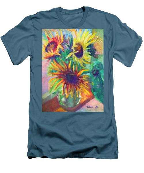 Brandy's Sunflowers - Still Life On Windowsill Men's T-Shirt (Athletic Fit)
