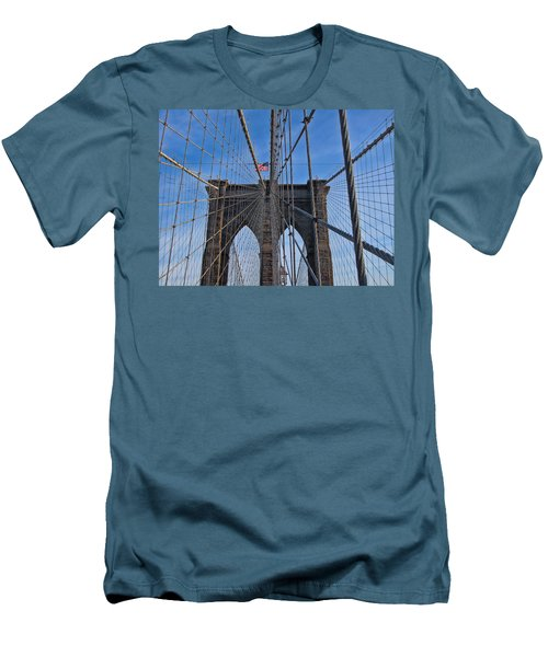 Men's T-Shirt (Slim Fit) featuring the photograph Brooklyn Bridge by David Gleeson