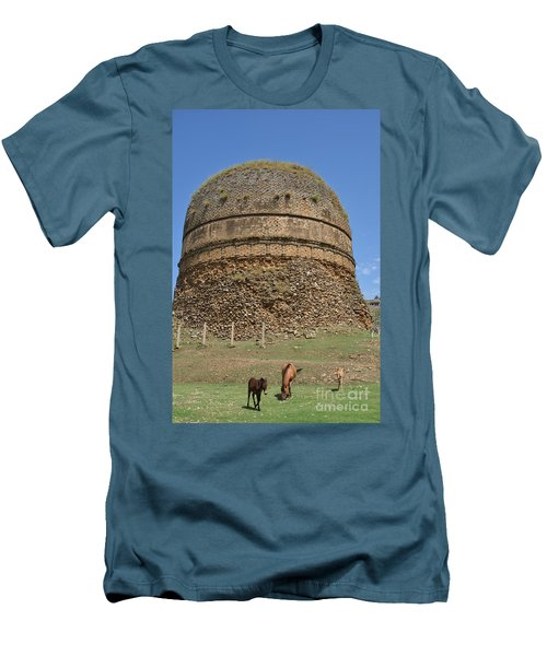 Buddhist Religious Stupa Horse And Mules Swat Valley Pakistan Men's T-Shirt (Slim Fit) by Imran Ahmed