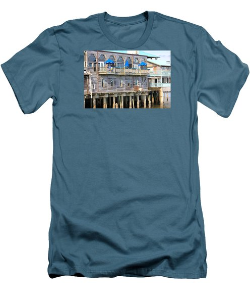 Men's T-Shirt (Slim Fit) featuring the photograph Building On Piles Above Water by Lorna Maza