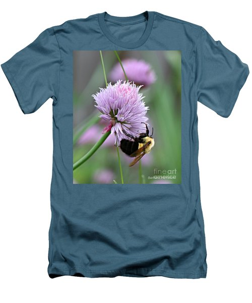 Men's T-Shirt (Slim Fit) featuring the photograph Bumblebee On Clover by Barbara McMahon