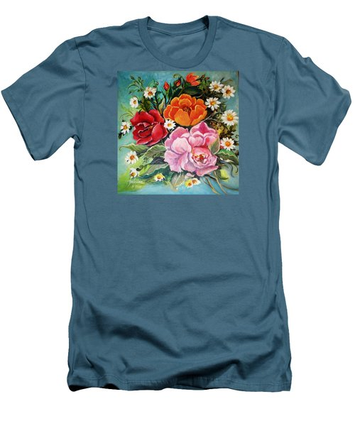 Bunch Of Flowers Men's T-Shirt (Slim Fit) by Yolanda Rodriguez