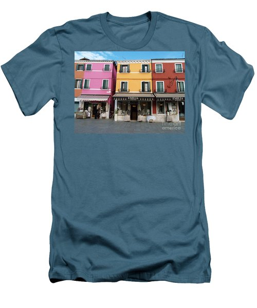 Men's T-Shirt (Slim Fit) featuring the painting Burano by Robin Maria Pedrero