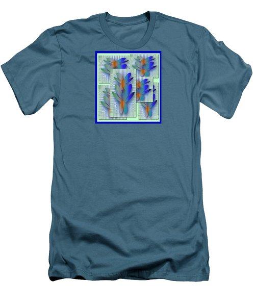 Men's T-Shirt (Slim Fit) featuring the drawing Butterflies 2 by Iris Gelbart