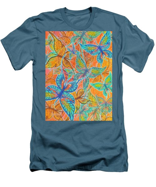 Men's T-Shirt (Slim Fit) featuring the painting Butterflies On Tangerine by Teresa Ascone