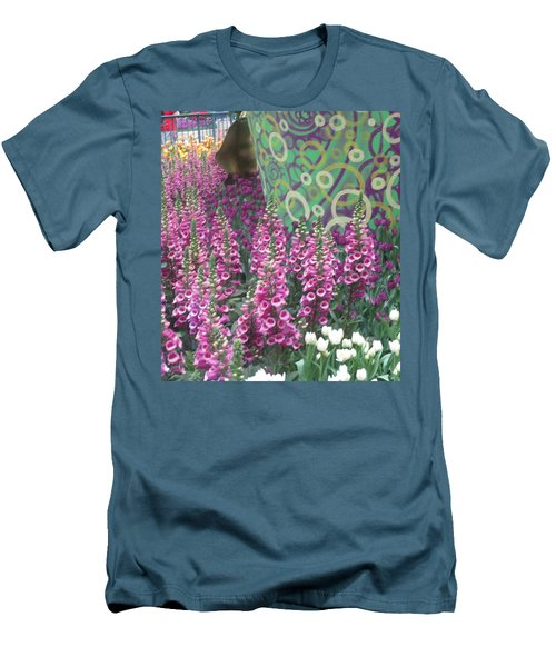 Men's T-Shirt (Slim Fit) featuring the photograph Butterfly Garden Purple White Flowers Painted Wall by Navin Joshi