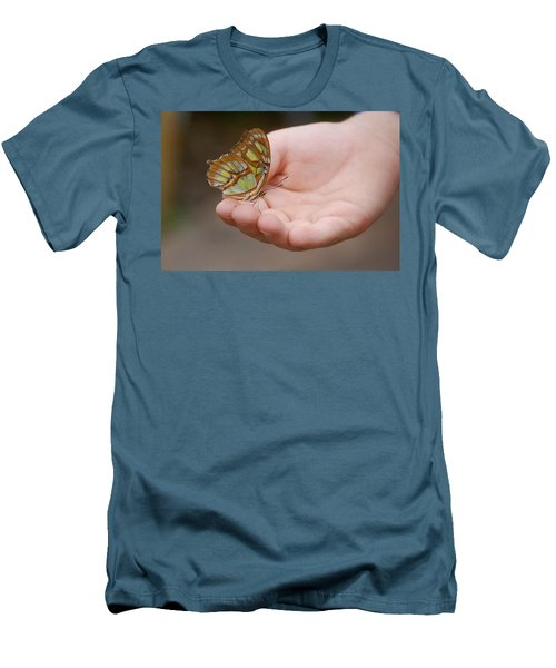 Men's T-Shirt (Slim Fit) featuring the photograph Butterfly On Hand by Leticia Latocki