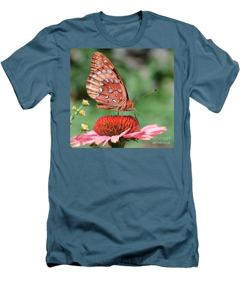 Butterfly Sipping A Coneflower Men's T-Shirt (Slim Fit) by Amy Porter