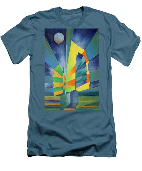 Men's T-Shirt (Slim Fit) featuring the painting By The Light Of The Silvery Moon by Tracey Harrington-Simpson