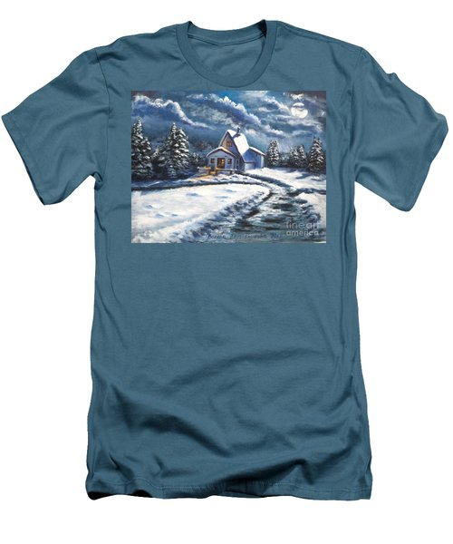 Cabin At Night Men's T-Shirt (Slim Fit) by Bozena Zajaczkowska
