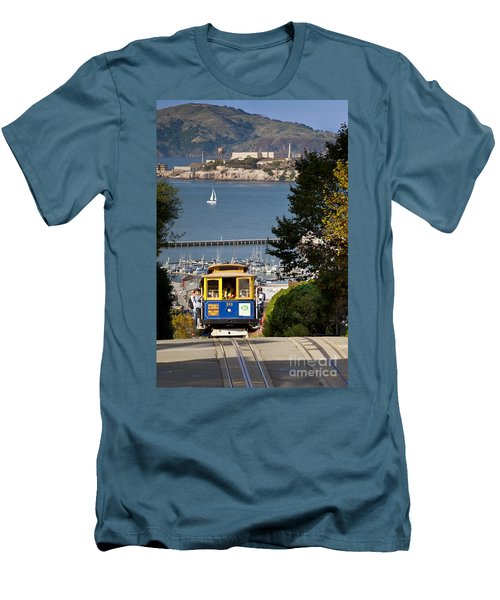 Cable Car In San Francisco Men's T-Shirt (Slim Fit) by Brian Jannsen