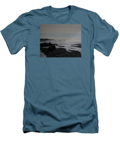 Men's T-Shirt (Slim Fit) featuring the painting Cambria Tidal Pools by Ian Donley
