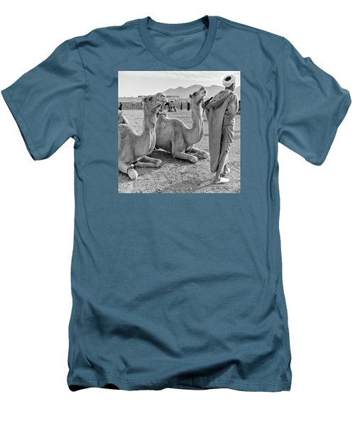 Men's T-Shirt (Slim Fit) featuring the photograph Camel Market, Morocco, 1972 - Travel Photography By David Perry Lawrence by David Perry Lawrence