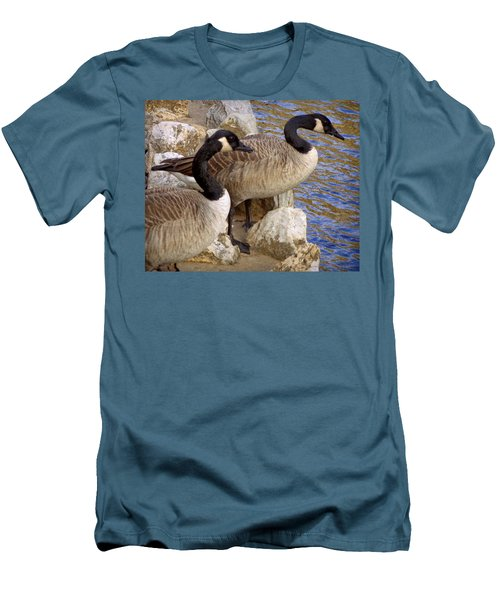 Men's T-Shirt (Slim Fit) featuring the photograph Canada Geese by Joseph Skompski
