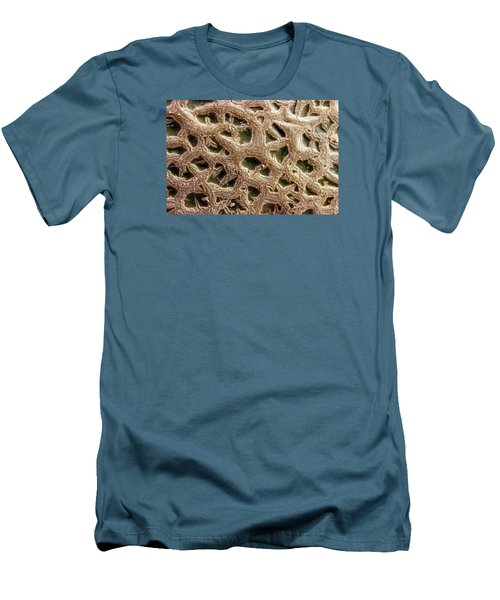 Men's T-Shirt (Slim Fit) featuring the photograph Canteloupe Macro by Sandra Foster
