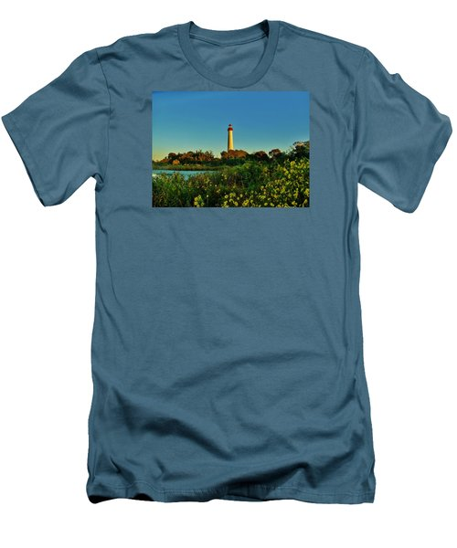 Men's T-Shirt (Slim Fit) featuring the photograph Cape May Lighthouse Above The Flowers by Ed Sweeney