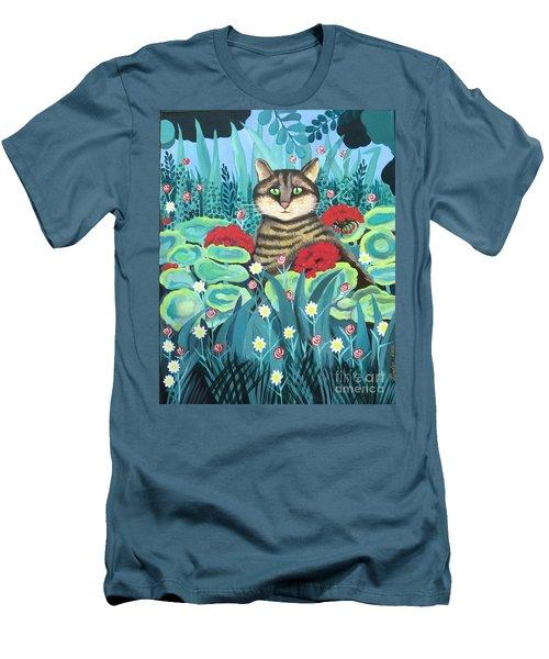 Cat Hiding In The Rainforest Men's T-Shirt (Slim Fit)