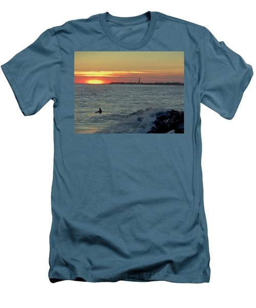 Men's T-Shirt (Slim Fit) featuring the photograph Catching A Wave At Sunset by Ed Sweeney