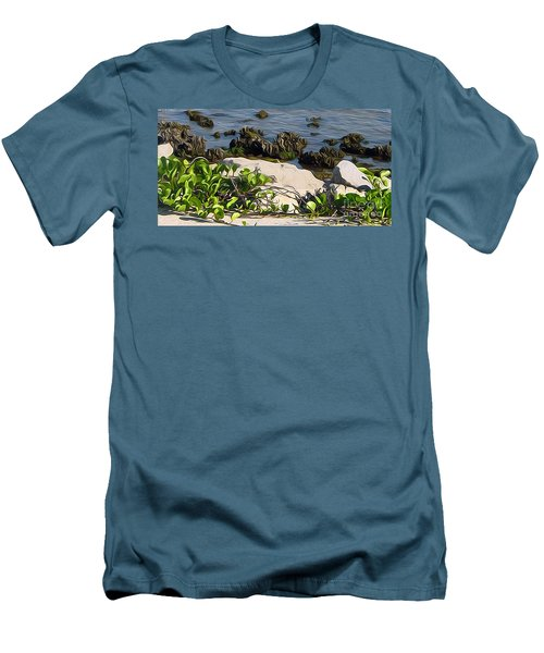 Men's T-Shirt (Slim Fit) featuring the painting Causeway Shore Blues by Ecinja