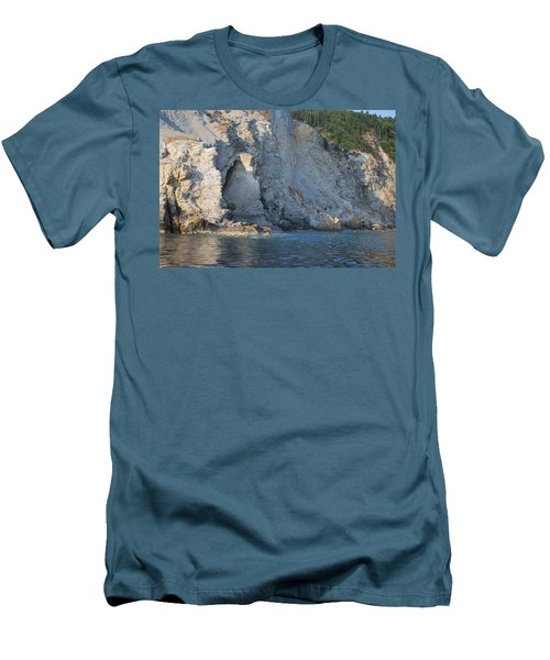Men's T-Shirt (Slim Fit) featuring the photograph Cave By The Sea by George Katechis