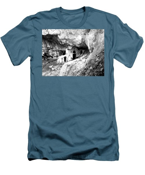 cave church on Mt Olympus Greece Men's T-Shirt (Slim Fit) by Nina Ficur Feenan