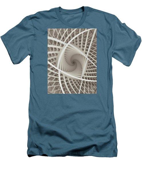 Centered White Spiral-fractal Art Men's T-Shirt (Slim Fit) by Karin Kuhlmann