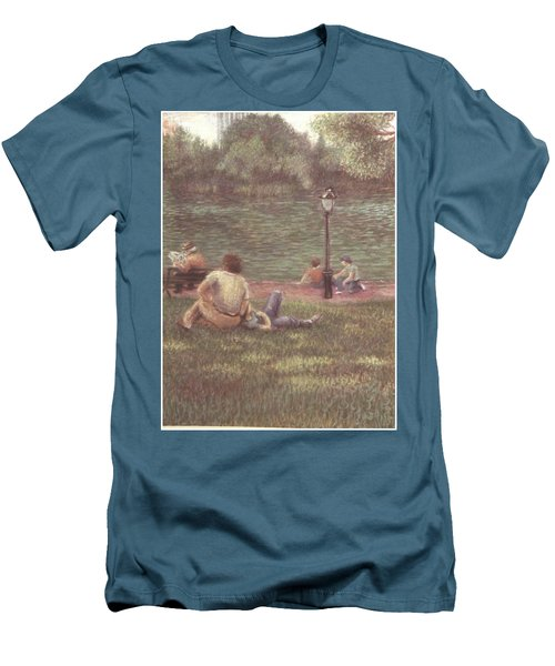 Men's T-Shirt (Slim Fit) featuring the painting Central Park Nyc by Walter Casaravilla