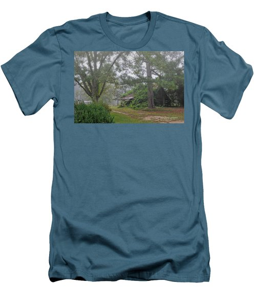 Men's T-Shirt (Slim Fit) featuring the photograph Century-old Shed In The Fog - South Carolina by David Perry Lawrence