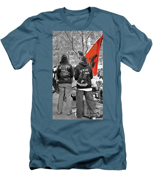Men's T-Shirt (Slim Fit) featuring the photograph Che At Occupy Wall Street by Lilliana Mendez