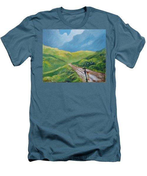 Chemin Sous Une Pluie Tropicale Men's T-Shirt (Athletic Fit)
