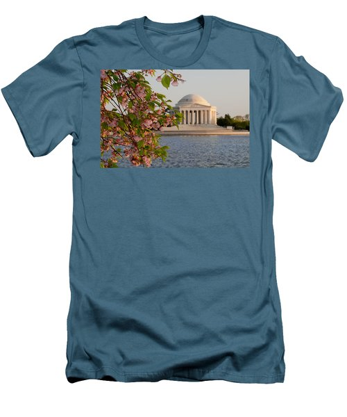 Men's T-Shirt (Slim Fit) featuring the photograph Cherry Blossoms And The Jefferson Memorial 3 by Mitchell R Grosky