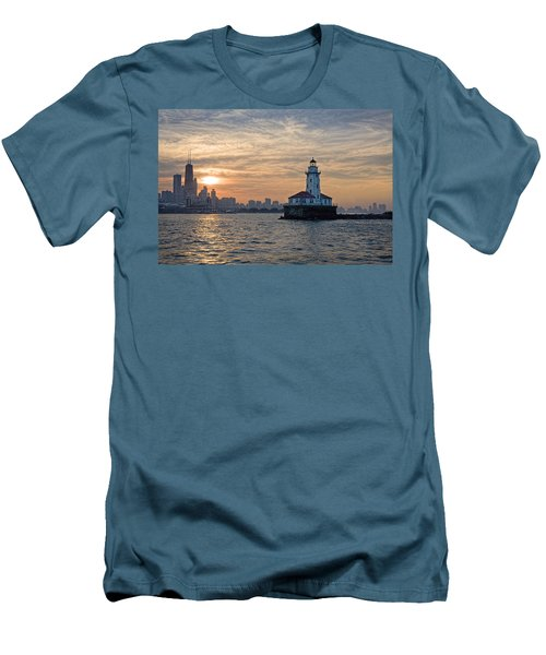 Men's T-Shirt (Slim Fit) featuring the photograph Chicago Lighthouse And Skyline by John Hansen