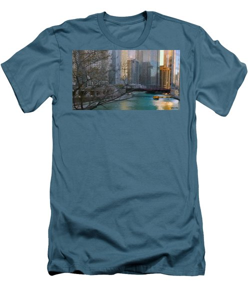 Chicago River Sunset Men's T-Shirt (Slim Fit) by Jeff Kolker