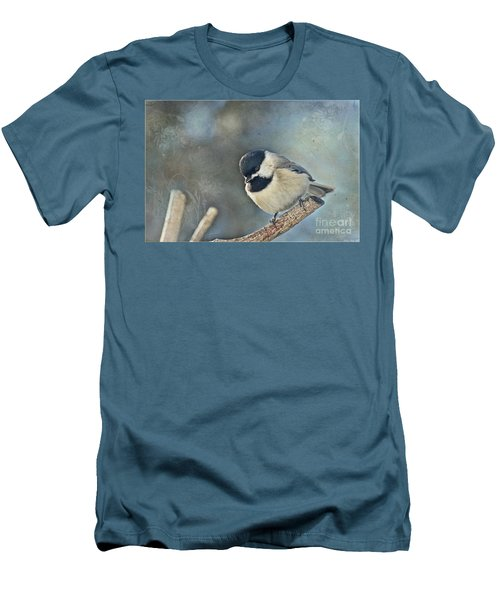 Chickadee With Texture Men's T-Shirt (Slim Fit) by Debbie Portwood
