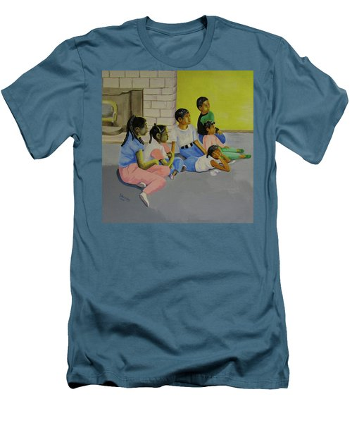 Men's T-Shirt (Slim Fit) featuring the painting Children's Attention Span  by Thomas J Herring