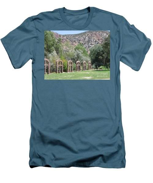 Men's T-Shirt (Slim Fit) featuring the photograph Chimayo Sanctuary In New Mexico by Dora Sofia Caputo Photographic Art and Design