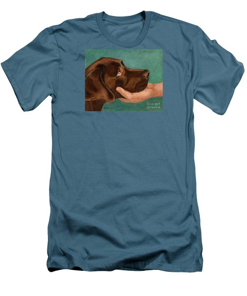 Chocolate Lab Head In Hand Men's T-Shirt (Athletic Fit)