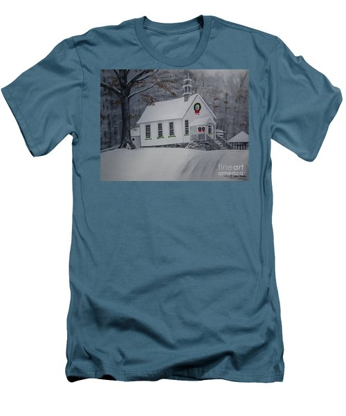 Christmas Card - Snow - Gates Chapel Men's T-Shirt (Athletic Fit)