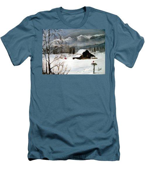 Christmas Farm House Men's T-Shirt (Athletic Fit)