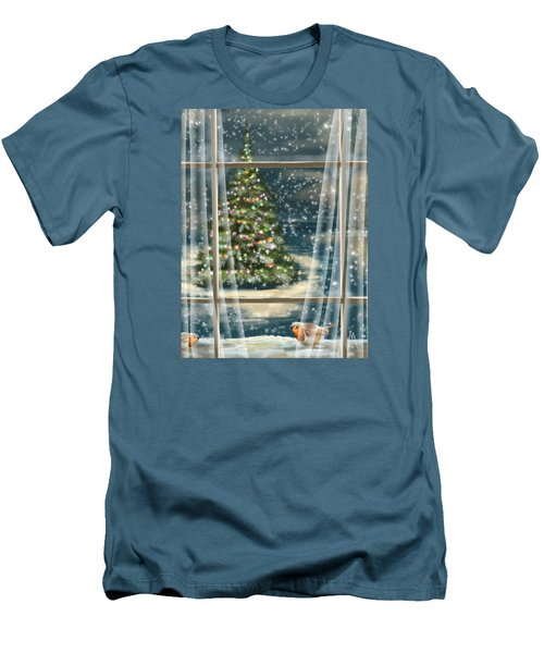 Christmas Night Men's T-Shirt (Slim Fit) by Veronica Minozzi