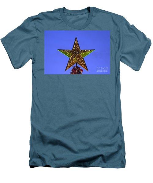 Christmas Star During Dusk Time Men's T-Shirt (Slim Fit) by George Atsametakis