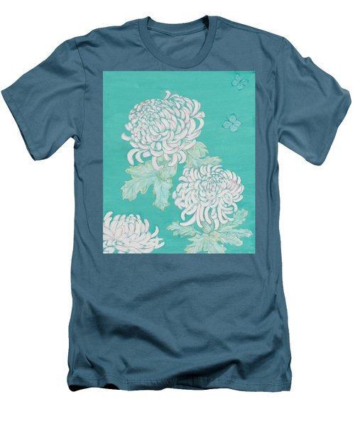 Men's T-Shirt (Slim Fit) featuring the painting Chrysanthemums And Butterflies by Stephanie Grant