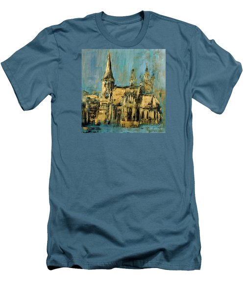 Men's T-Shirt (Slim Fit) featuring the painting Church by Arturas Slapsys
