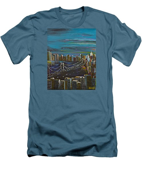 Men's T-Shirt (Slim Fit) featuring the painting Citiscape by Donna Blossom