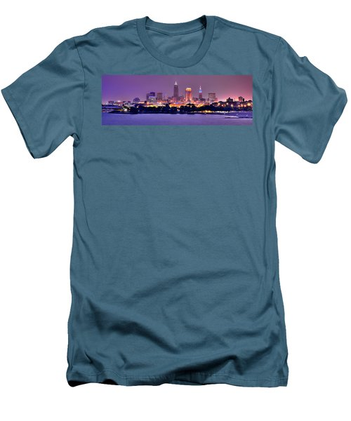 Cleveland Skyline At Night Evening Panorama Men's T-Shirt (Athletic Fit)